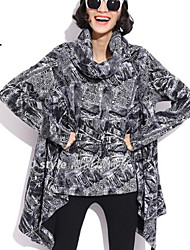 Women's Patchwork Black Blouse , Round Neck Long Sleeve