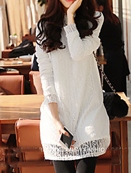 Women's Lace White / Black Dress , Sexy / Casual Stand Long Sleeve
