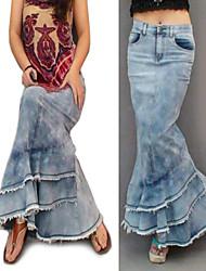 Women's Bohemian Fashion Casual Vintage Jeans Maxi Skirt