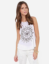 Women's Print White Blouse , Round Neck Sleeveless