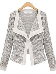 Women's Solid White / Black Coat , Casual / Work Long Sleeve