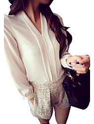 Mulheres Blusa Casual Simples / Moda de Rua Primavera / Verão / Outono,Floral Vermelho / Branco / Preto Poliéster / Outros Decote VManga