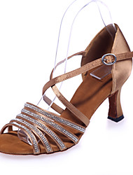 Non Customizable Women's Dance Shoes Latin Satin Flared Heel Black / Brown / Red / Silver / Gold