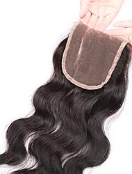8-20inch Přírodně černá  (#1B) Ručně vázané Vlnité Lidské vlasy Uzavření Středně hnědá Švýcarská krajka 20-60g gramDrobná / Střední