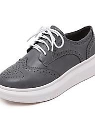 Scarpe Donna - Sneakers alla moda - Tempo libero - Comoda - Piatto - Finta pelle - Nero / Bianco / Grigio