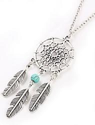 Designer Jewelry Bohemian Feather Shape Dreamcatcher Pendant Necklace