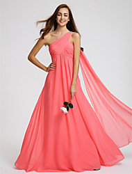 Floor-length Georgette Bridesmaid Dress A-line One Shoulder