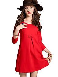 Women's Dress , Cotton Blends Above Knee Long Sleeve
