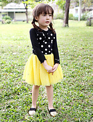 Girl's Red / Yellow Dress,Lace Rayon Summer