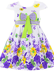 Girls Fashion Girls Summer Dress Floral Print 100% Cotton Party Pageant Baby Children Kids Clothes Dresses (100% Cotton)