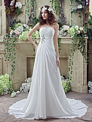 A-line Wedding Dress Court Train Sweetheart Chiffon with Criss-Cross / Beading