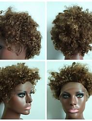 pelucas del cordón rizado para las mujeres negras 4/27 # 8 pulgadas con el 100% del pelo humano