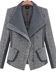 Women's Solid Black / Gray Coat , Casual Long Sleeve Polyester