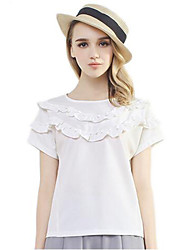Women's Solid White Blouse , Round Neck Short Sleeve