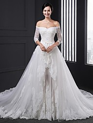 Ball Gown Wedding Dress Two-in-One Chapel Train Strapless Tulle with Appliques