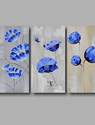 "Ready to Hang Hand-Painted Oil Painting Canvas Three Panels 48""x32"" Wall Art Abstract Blue Flowers Grey"