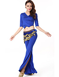 Belly Dance Outfits Women's Performance Milk Fiber Draped 2 Pieces Pants Top M:43 L:45