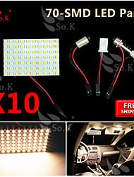 10x feston BA9s T10 LED blanc chaud 70 SMD panneau intérieur carte de dôme lampe à ampoule 12v