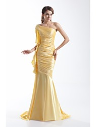 Formal Evening Dress - Gold Trumpet/Mermaid One Shoulder Sweep/Brush Train Chiffon / Stretch Satin