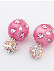 Pearl Ball Double-sided Wearable Crystal Candy Colored Earrings