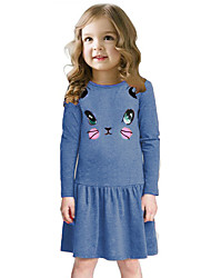 New Baby Girls Kids Dress Cotton Cartoon Cat Print Dropped Waist Solid O Neck Long Sleeves Cute Children Princess Dress