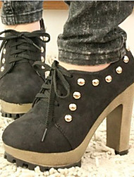 Women's Shoes Fabric Chunky Heel Heels / Platform / Round Toe Heels Office & Career / Casual Black / Blue