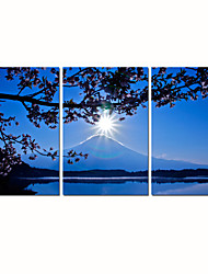 VISUAL STAR®Full Moon Stretched Canvas Print Mountain Scenery Wall Art Ready to Hang