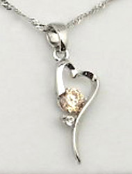 Casual Silver Plated / Cubic Zirconia Pendant Necklace