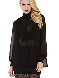 Women's Sexy Sheer Solid Black Shirt , Turtleneck Long Sleeve