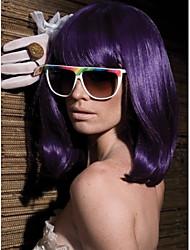 Middle Length Hair European Weave Purple Color Hair Wig