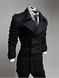 Men's Solid Casual Coat,Cotton / Polyester Long Sleeve-Black / Blue / Gray
