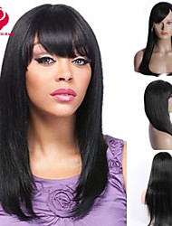 In Stock 10-30inch Silk Straight With Bangs Lace Front Wigs 100% Brazilian Virgin Human Hair U Part Wig For Women