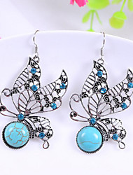 HUALUO®Fashion Retro Pattern Turquoise Butterfly Earrings