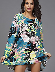 Women's Casual/Daily Loose Dress,Floral Round Neck Above Knee Long Sleeve Blue Cotton / Polyester Fall
