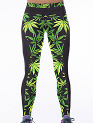 Women's Green Leaf Print Stretch Yoga Pants