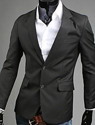 Masculino Blazer Formal Cor Solida Manga Comprida Algodão / Poliéster Preto / Azul / Cinza