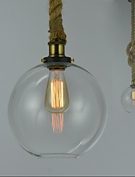 American Country Vintage Industrial Creative Glass Chandelier Single Head Rope