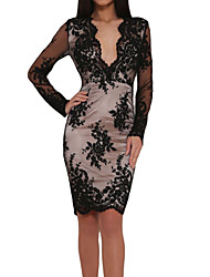 Women Bodycon Dress Deep V Neck Floral Lace Long Sleeve Slim Party Club Mini Dress