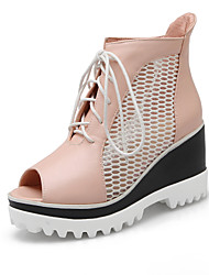 Women's Spring Summer Gladiator Novelty Leatherette Outdoor Office & Career Casual Wedge Heel Lace-up Others Blue Pink White
