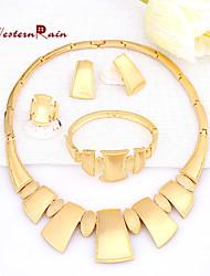Westernrain Gold Plated Jewelry Elegant Fashion Bridal Wedding Dress Accessories Costume Rose Gold Jewelry Set