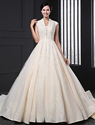 A-line Wedding Dress Chapel Train V-neck Lace with Lace