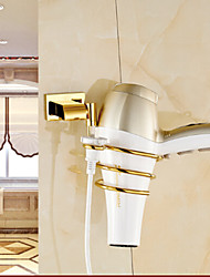 Bathroom Shelves, Gold Wall Mounted Brass Material Electric hair dryer,Bathroom Accessory