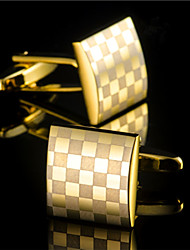 Fashion Copper Men Gift Jewelry Silver Gold Square Lattice Shirt Button Cufflinks(1Pair)