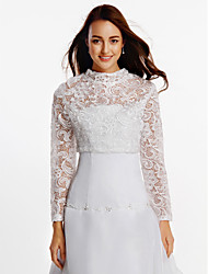 Wedding  Wraps Coats/Jackets Long Sleeve Lace White Wedding Party/Evening Lace Zipper Clasp