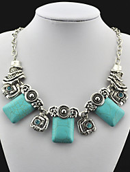 Vintage Look Antique Silver Plated Square Cz Alloy Turquoise Stone Necklace Pendant(1PC)