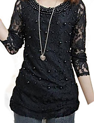 Women's Beads Lace Slim T-shirt