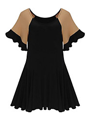 Women's Sexy Casual Plus Sizes Inelastic Short Sleeve Above Knee Dress (Microfiber)