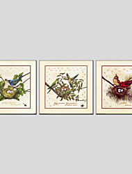 Oil Paintings Modern Flower And Bird Style Canvas Material With Wooden Stretcher Ready To Hang Size 70*70*3PCS