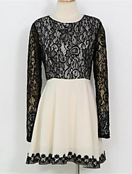 Women's Patchwork Black Dress , Sexy / Lace Round Neck Long Sleeve