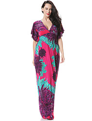 Women's Party/Cocktail Boho Trumpet/Mermaid Dress,Floral Deep V Maxi Sleeveless Orange / Purple Spandex Spring